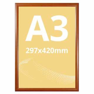 Ramă click WOOD, cu imitație de lemn A3, JJ DISPLAYS, 297 x 420 mm