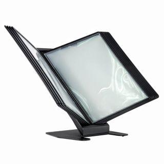 Desk Info Frame, negru, cu mape din plastic, pentru organizare și afișare documente, JJ DISPLAYS
