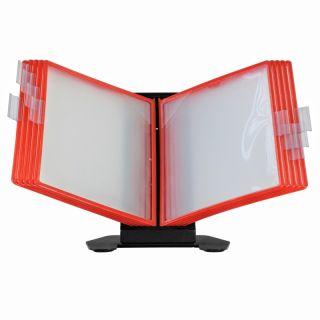 Desk Info Frame, roșu, cu mape din plastic, pentru organizare și afișare documente, JJ DISPLAYS