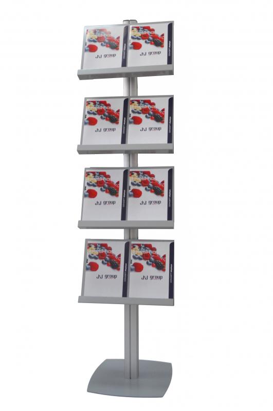 Brochure Stand SL, JJ DISPLAYS, dublă față, cu 4 rafturi