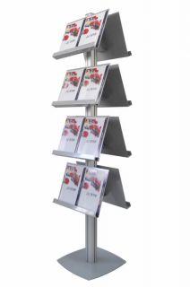 Brochure Stand SL, JJ DISPLAYS, simplă față, cu 4 rafturi