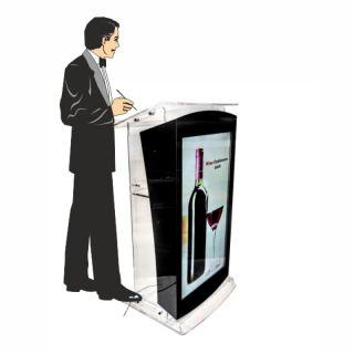 Pupitru Digital Dr. LECTERN, pentru conferințe, din plexiglas transparent, cu televizor, JJ DISPLAYS, dimensiuni la cerere