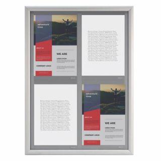 Avizier NANO Display JJ DISPLAYS, 4 x A4, ramă click 500x700mm, PORTRAIT