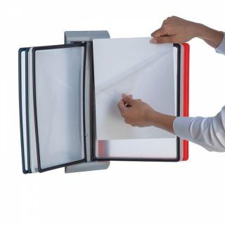 Wall Info Frame, negru, cu mape din plastic, pentru organizare și afișare documente, JJ DISPLAYS