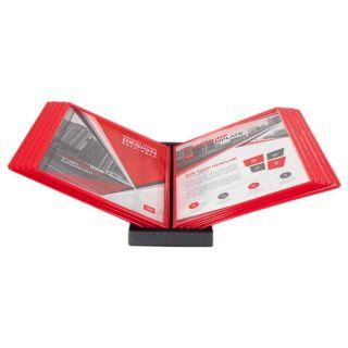 Wall Info Frame, rosu, cu mape din plastic, pentru organizare și afișare documente, JJ DISPLAYS
