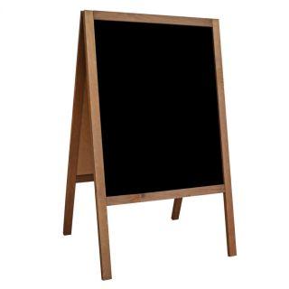 People Stopper WOOD, capră din lemn cu tablă de scris cu creta sau marker, culoare maro-deschis, JJ DISPLAYS