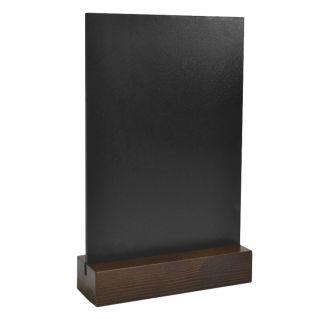 Menu Holder BLACK, cu bază din lemn și panou de scris cu creta sau marker, JJ DISPLAYS