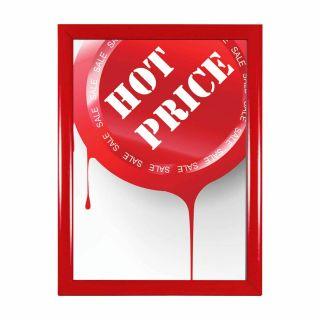 Ramă click din aluminiu vopsită roșu A4, JJ DISPLAYS, 210 x 297 mm