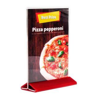Menu Holder - Suport meniu din plexiglas cu bază roșie A3, JJ DISPLAYS, 297 x 420 mm, Landscape