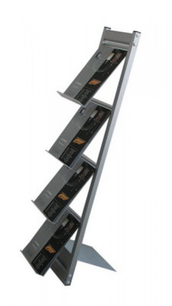 Stand demontabil pentru pliante și cataloage A4, JJ DISPLAYS, 210 x 297 mm, cu 3 rafturi
