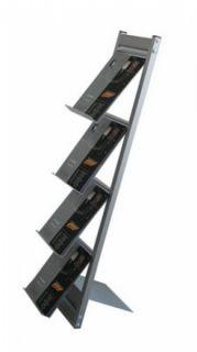 Stand demontabil pentru pliante și cataloage A4, JJ DISPLAYS, 210 x 297 mm, cu 4 rafturi
