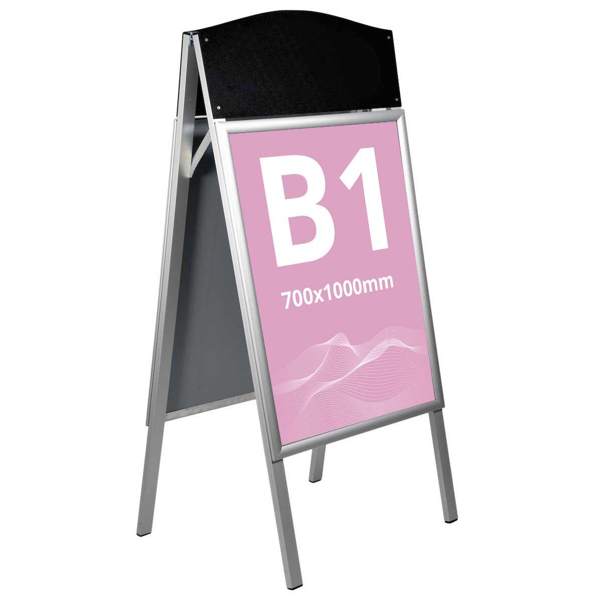 People Stopper, cu header din ABS negru S7, JJ DISPLAYS, 700 x 1000 mm