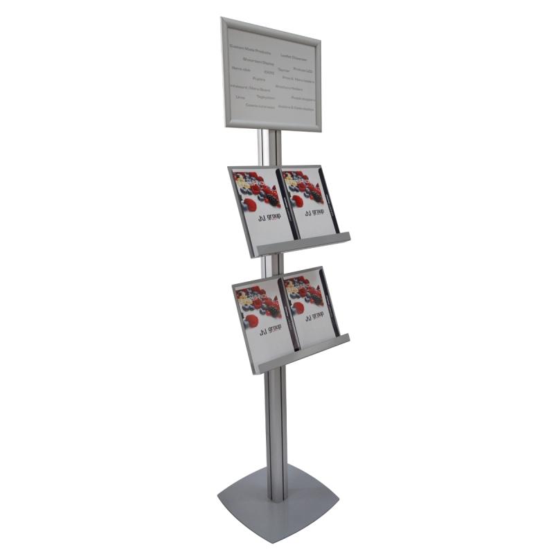 Stand SL cu rafturi pentru pliante, brosuri și cu rama click A3, JJ DISPLAYS, 297 x 420 mm, simplă față, cu un raft