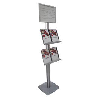 Stand SL cu rafturi pentru pliante, brosuri și cu rama click A3, JJ DISPLAYS, 297 x 420 mm, simplă față, cu 2 rafturi