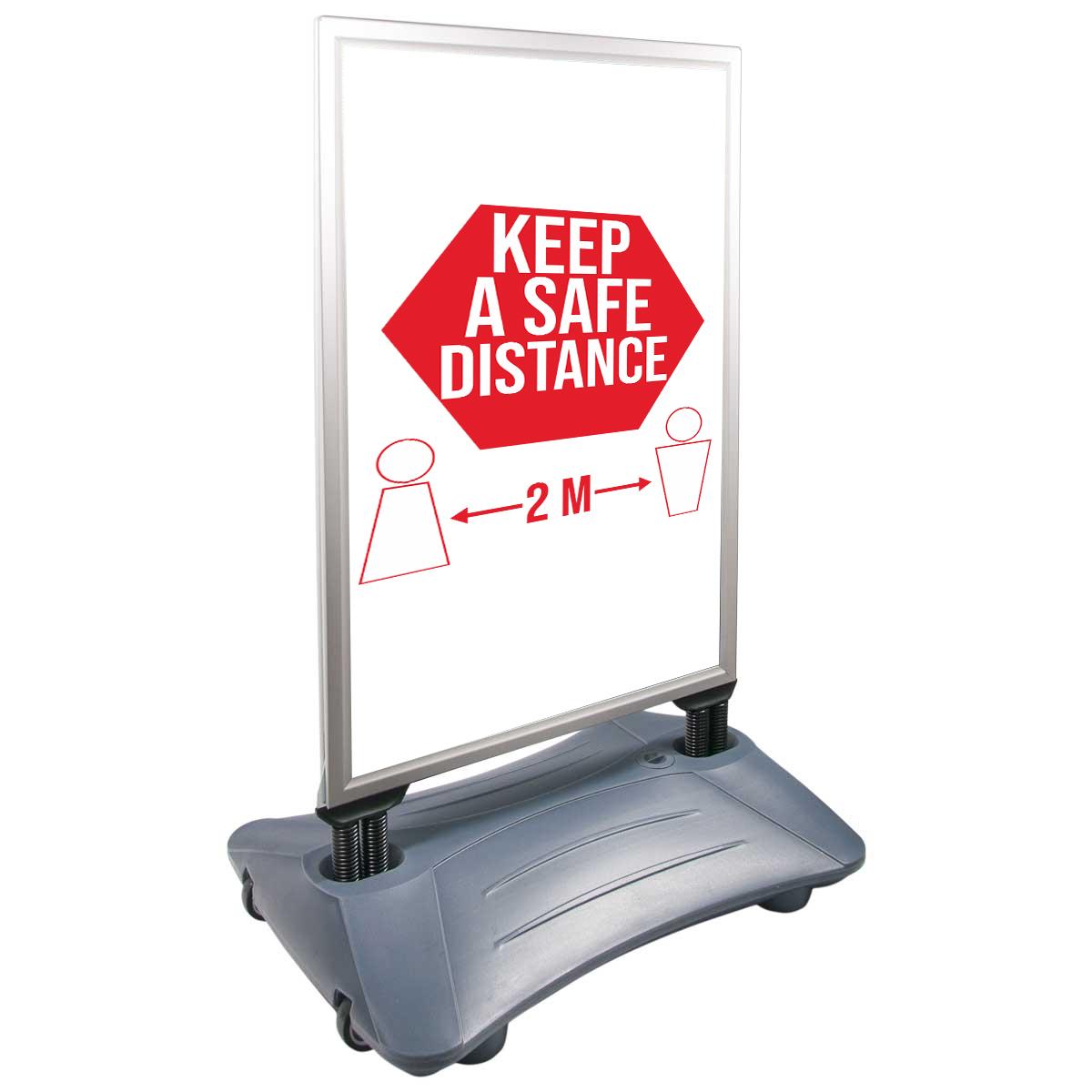 People Stopper Wind-On PREMIUM, panou mobil rezistent la vânt cu rezervor pentru apă sau nisip A1, JJ DISPLAYS, 594 x 841 mm