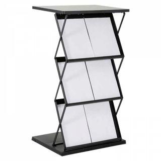 Stand pliabil Info Desk, pentru expunere broșuri, pliante, reviste, cu 3 buzunare format 2xA4, JJ DISPLAYS
