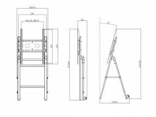Suport TV de podea, stand înclinat, Semnalizare Digitală pentru televizor, diagonală ecran 32 - 55 inch, JJ DISPLAYS