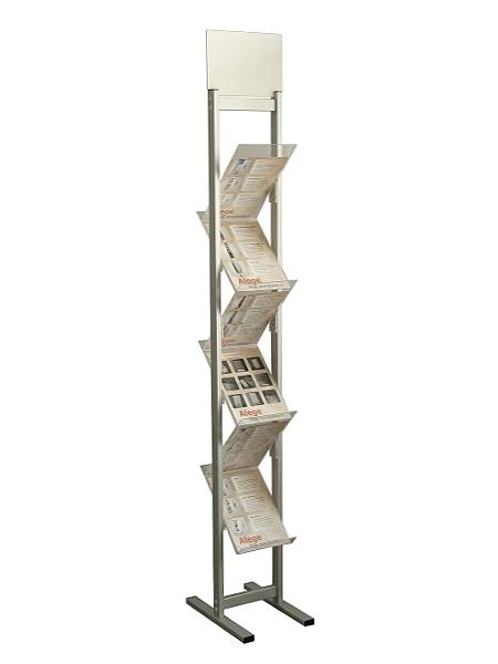 Stand Zig - Zag cu header pentru pliante și cataloage A4, JJ DISPLAYS, 210 x 297 mm