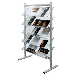 Stand pentru reviste, brosuri sau ziare cu cinci rafturi 4 x A4, din plexiglas A4, JJ DISPLAYS, 210 x 297 mm, cu 5 rafturi