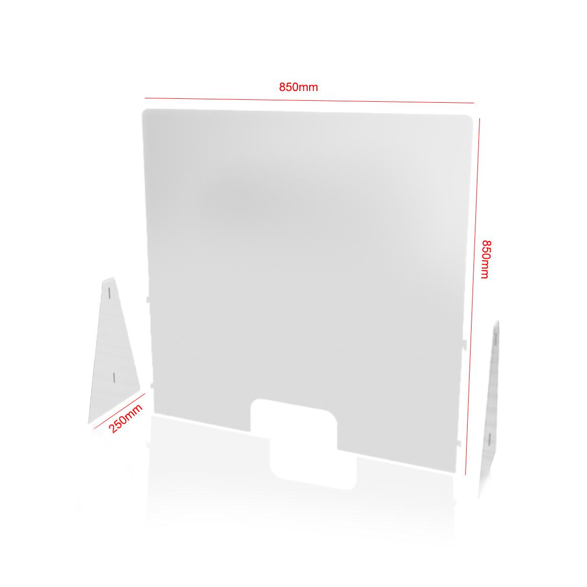 Protecție plexiglas, demontabilă, pentru tejghea și casă de marcat, dimensiunea 850x850x250 mm
