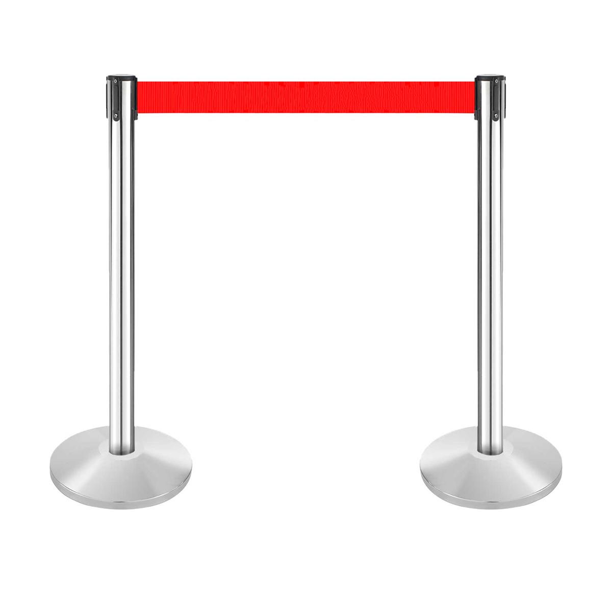 Stâlp pentru delimitare trafic, CROMAT, cu bandă roșie de 180 cm, retractabilă, JJ DISPLAYS