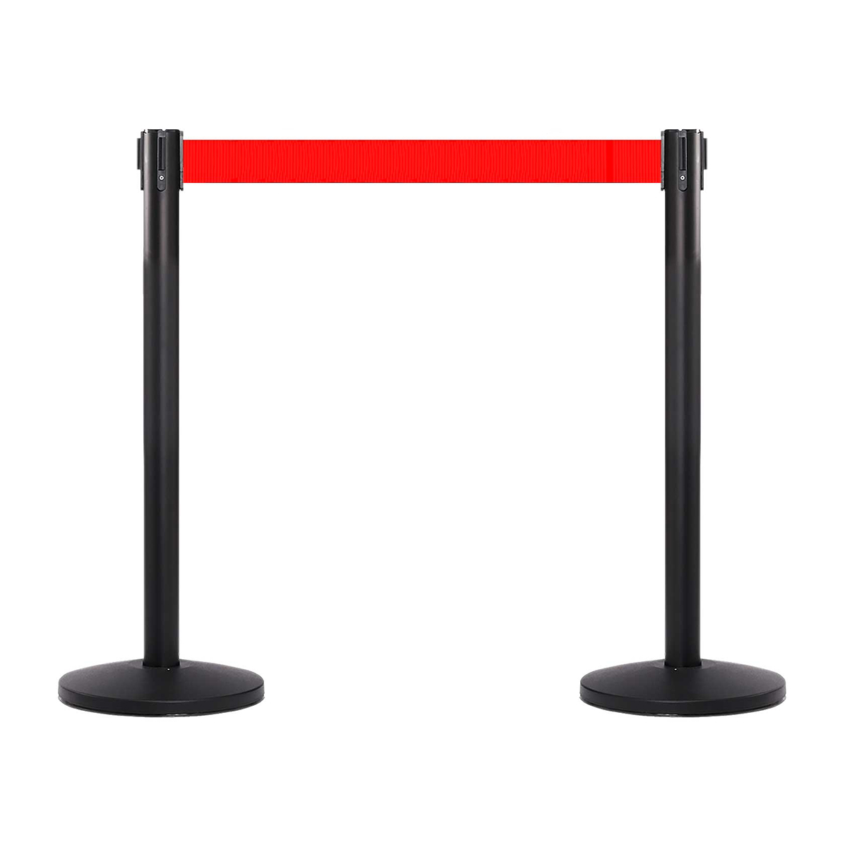 Stâlp pentru delimitare trafic, NEGRU, cu bandă roșie de 180 cm, retractabilă , JJ DISPLAYS