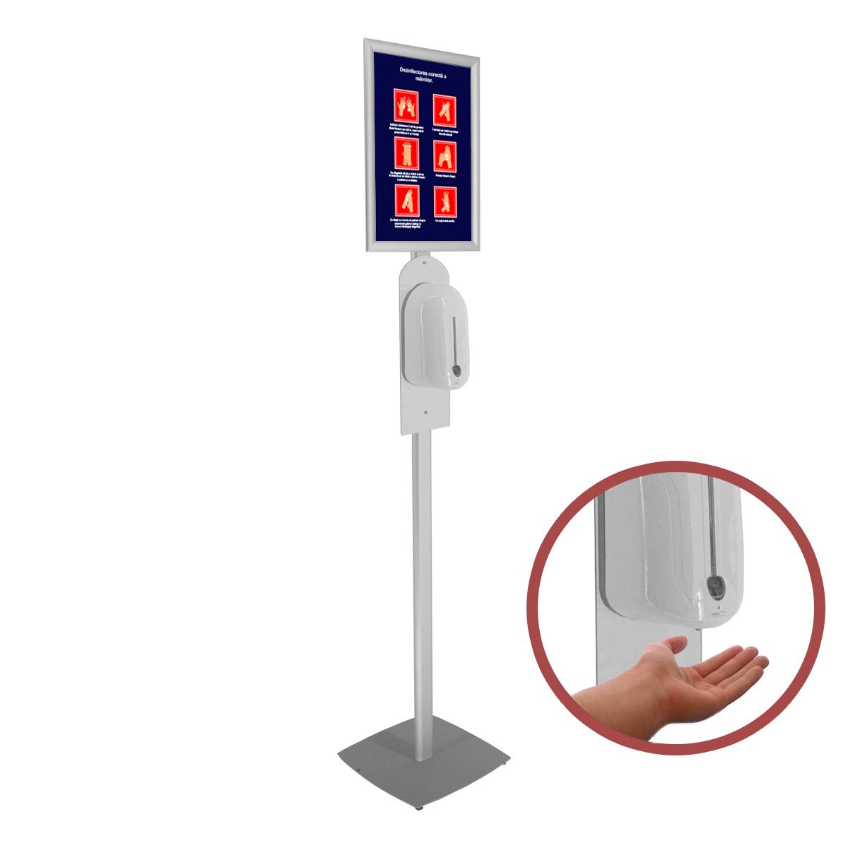 Stand pentru dezinfectare mâini, cu dozator automat, JJ DISPLAYS, dimensiuni la cerere