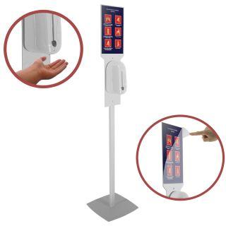 Stativ header cu dimensiunea A4 portrait și dozator automat pentru dezinfectare mâini, JJ DISPLAYS, dimensiuni la cerere