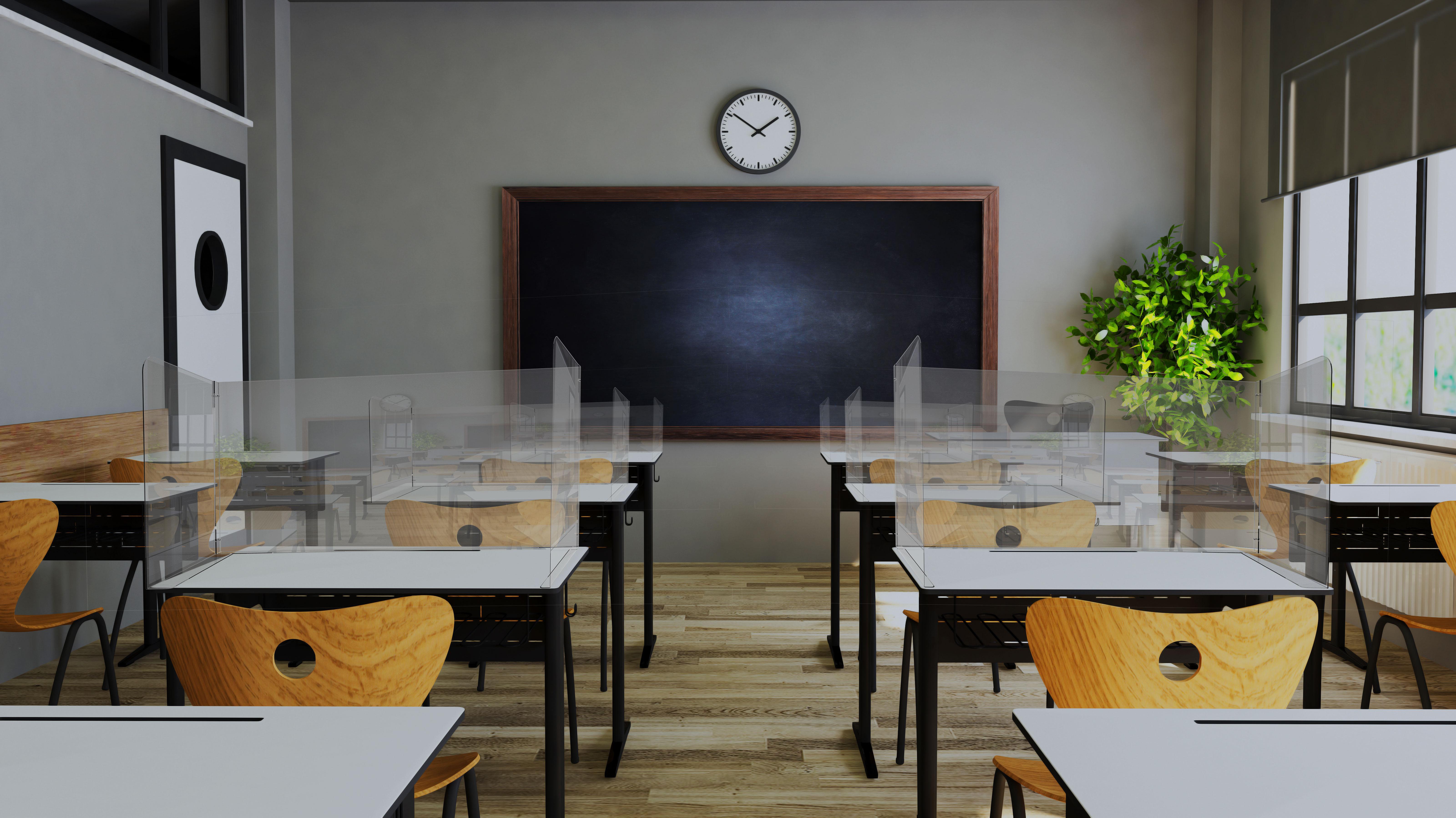 Protecție plexiglas pentru școala, tip U, JJ DISPLAYS