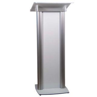 Pupitru pentru conferințe realizat din plexiglas alb și aluminiu, JJ DISPLAYS