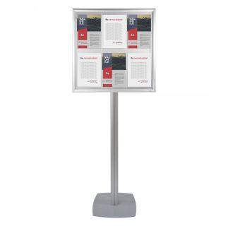Avizier format 6xA4 portrait cu picior, pentru expunere documente, mesaje informaționale, JJ DISPLAYS
