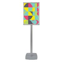 Info Board SL, stand pentru afișaj cu ramă click și picior din profil SL din aluminiu A2, JJ DISPLAYS, 420 x 594 mm, simplă față