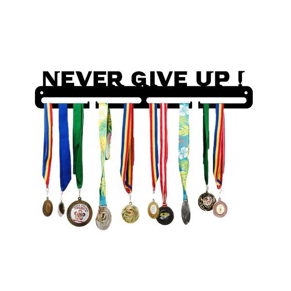 Suport medalii metalic NEVER GIVE UP, JJ DISPLAYS