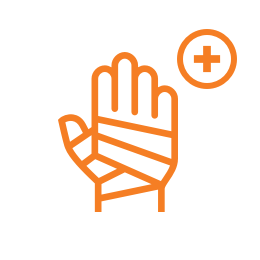 A bandaged hand and medical sign for rehabilitation icon