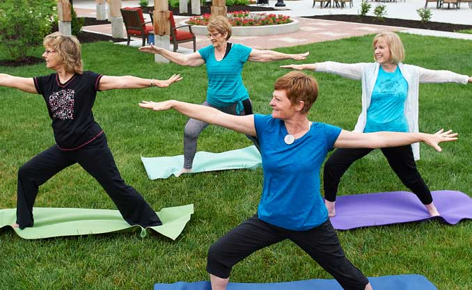 Outdoor yoga for seniors class