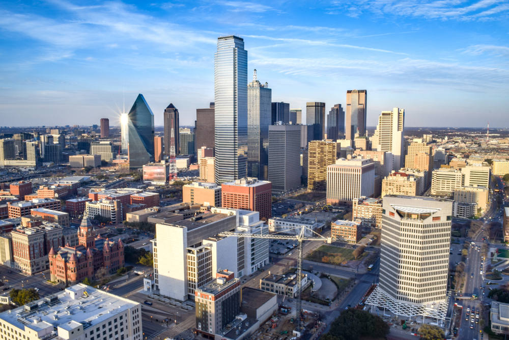 aerial view of downtown dallas