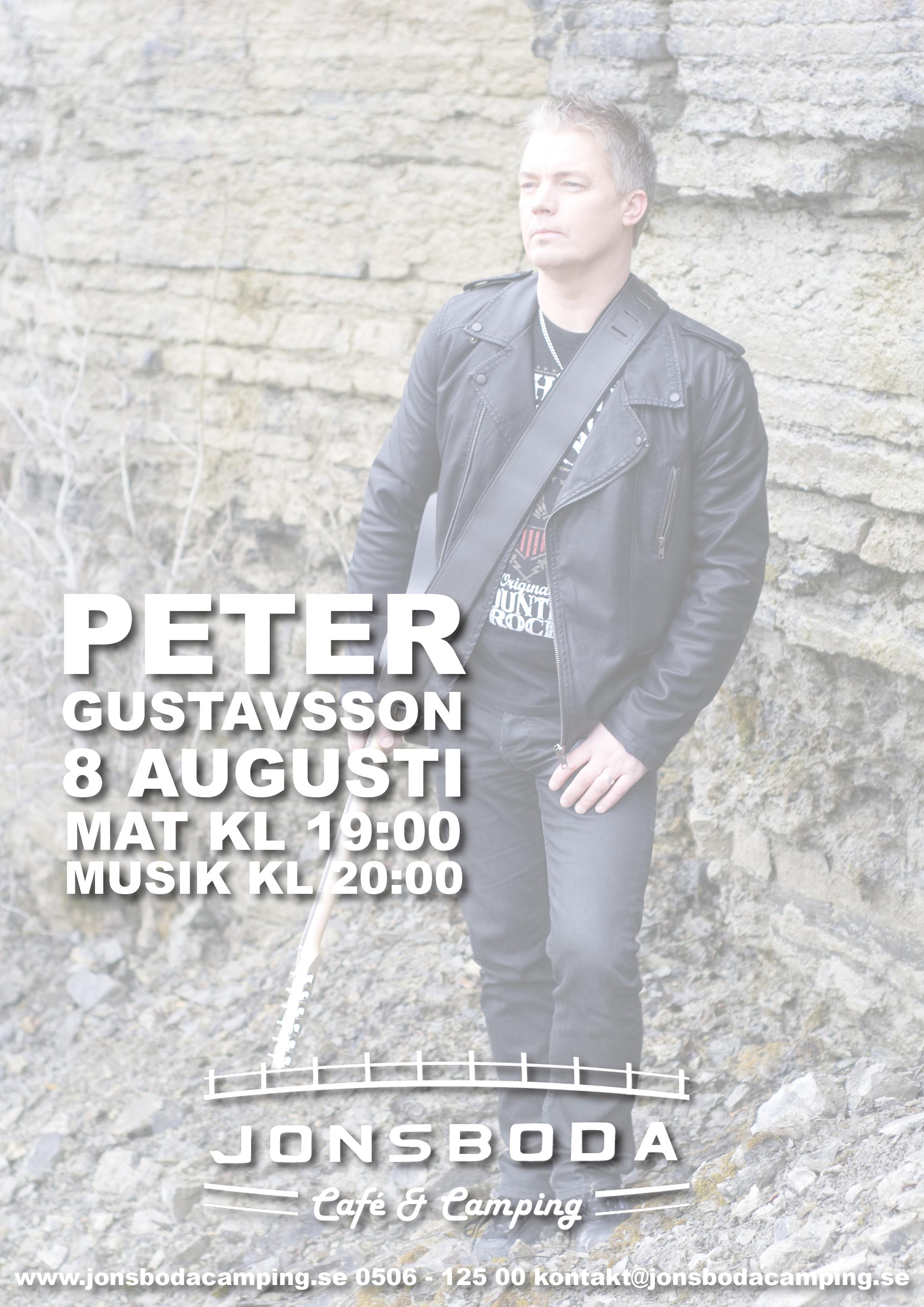 Peter Gustavsson gästar oss den 8 augusti och vi erbjuder hamburgerbuffé. Från kl 19:00.
