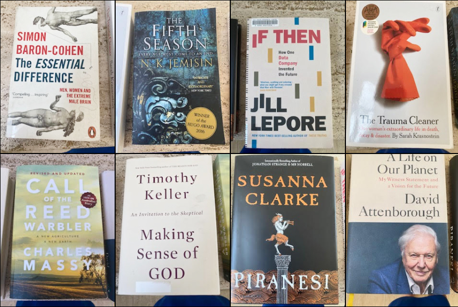 Natasha's reading list: The Essential Difference: Men Women and the Extreme Brain (Simon Baron-Cohen), The Fifth Season (N.K Jamisin), If Then (Jill Lepore), The Trauma Cleaner (Sarah Krasnostein), Call of the Reed Warbler (Charles Massy), Making Sense of God (Timothy Keller), Piranesi (Susanna Clarke), and A Life on Our Planet (David Attenborough).
