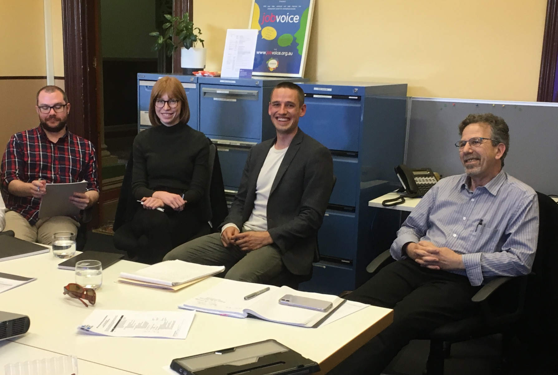 The DSP Help Steering Committee in action. From L-R: Dermott Williams (DSP Help community lawyer), Hannah Mitchell (Paper Giant), Bryn Overend (SSRV), and Len Jaffit (Victoria Legal Aid)
