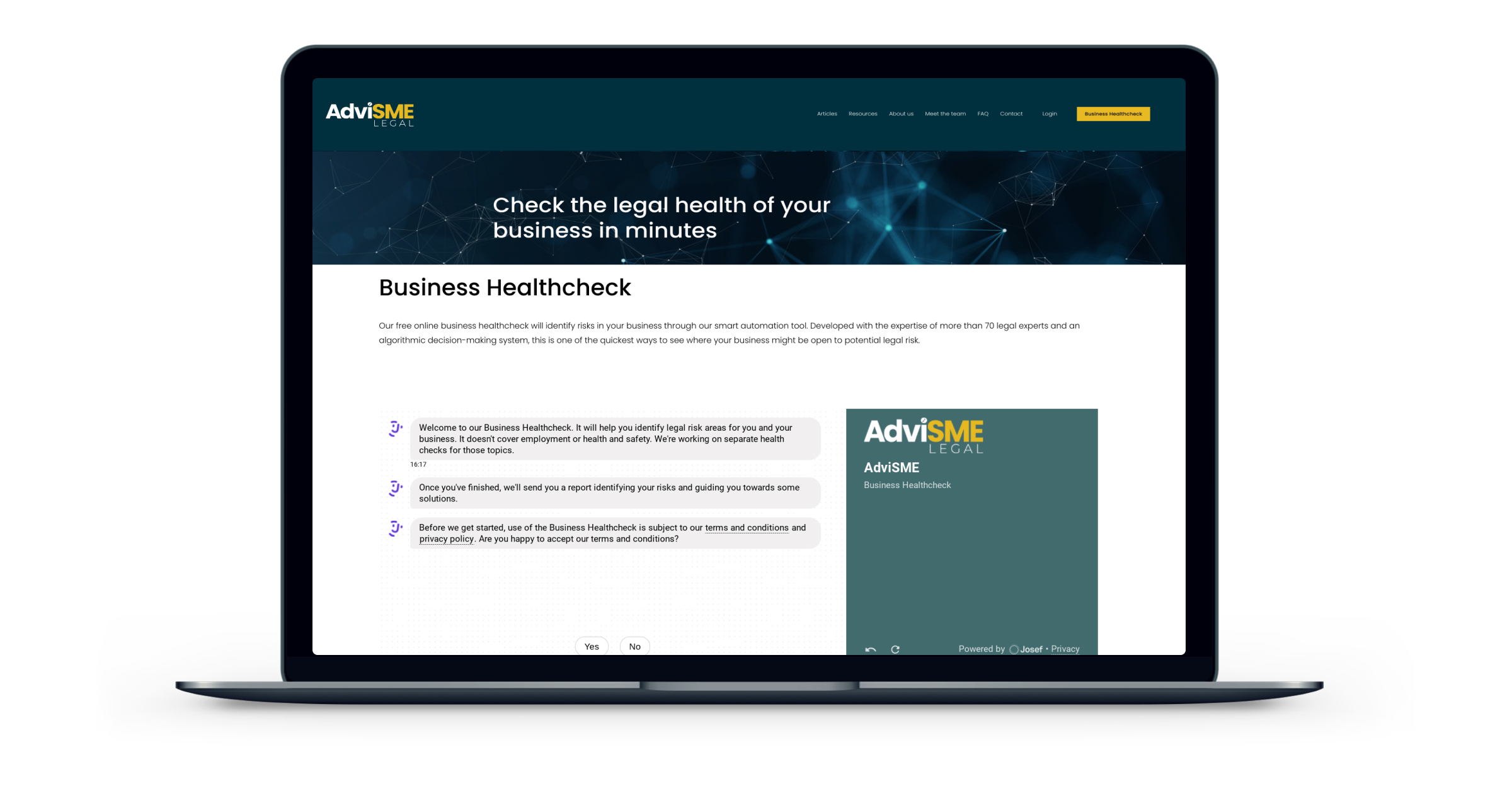 The AdviSME bot gives business owners a legal health check in the time it takes for a coffee break