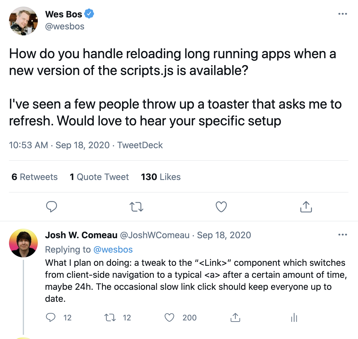 A tweet from Wes Bos asking about stale JS bundles