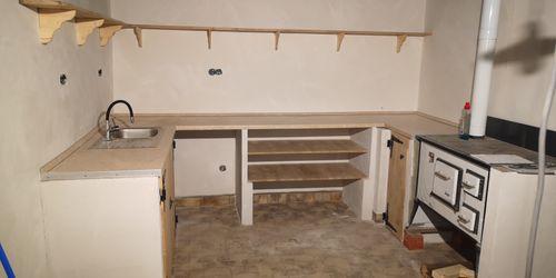 Nyári konyha szekrény itongból és tölgyfából