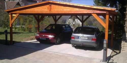 Fa garázs nyitott dupla