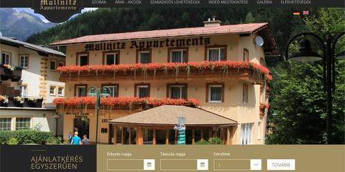 Mallnitz Appartements honlapja - Ausztriai szálláshely 3 nyelven