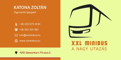 Katona Zoltán - XXL Minibus Kft. névjegykártyája