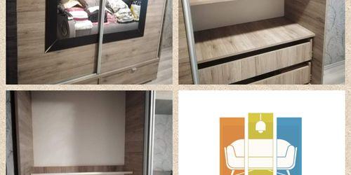 Tolóajtós gardrób szekrény szétszerelése, alsó fíókos rész felszerelése, majd újboli összeállítása