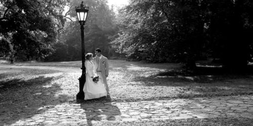 Egy romantikus fekete-fehér kép a keszthelyi kastély parkban