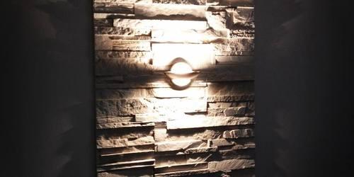 Fali díszburkolat beépített világítótesttel.