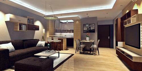 Fáy utcai lakás nappalija és konyhája