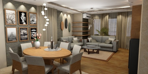 Monori családi ház nappalija és étkezője